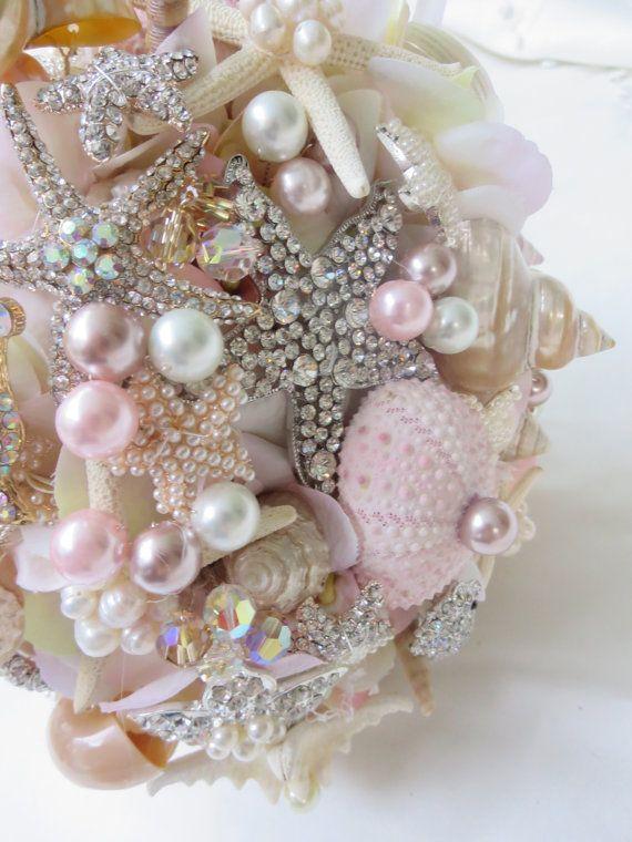 Pink Sea Shell Bouquet Brooch Bouquet Beach Wedding By BoHoBridal 30000