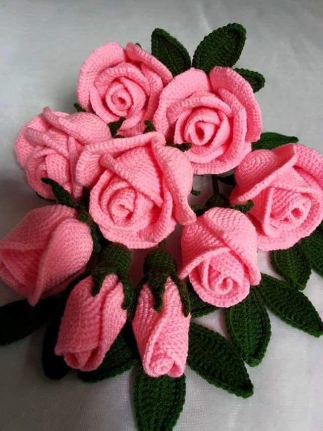 Rosas tejidas