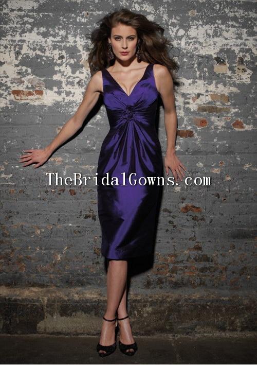 Knee Length Taffeta V Neck Navy Blue Bridesmaid Dresses