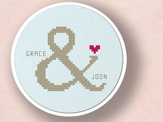 Couple Ampersand Love Personalizable Cross Stitch by andwabisabi, $10.00