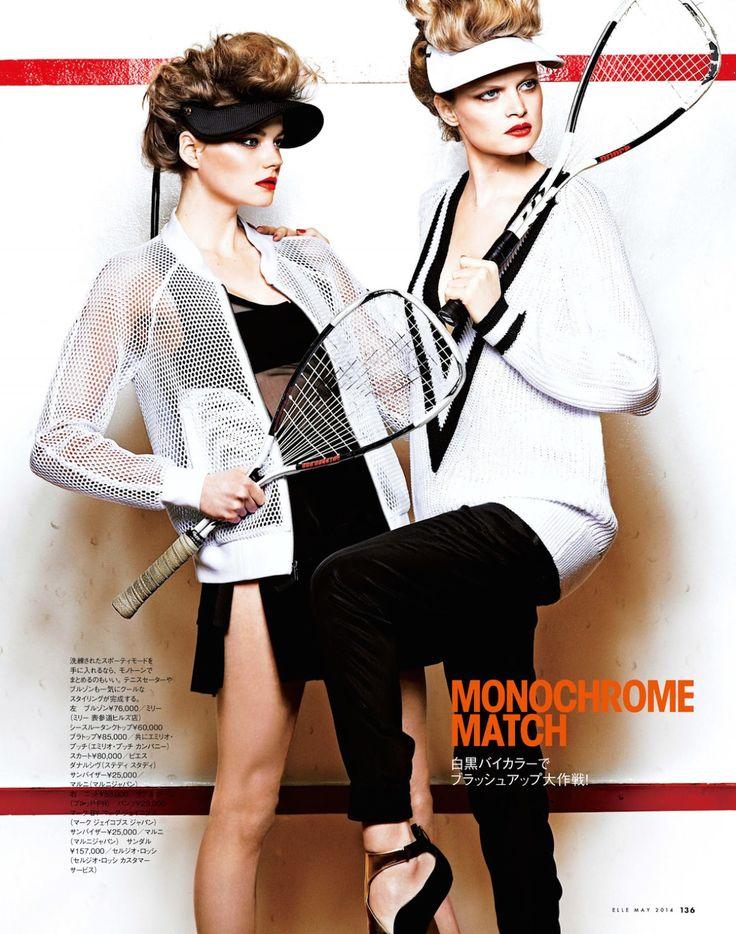 visors - sporty: nathalia oliveira and alana w by takaki kumada for elle japan may 201...