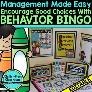 Behavior Bingo - Use this 24 page resource in your bag of tricks. It allows you to focus on the POSITIVE classroom behaviors instead of the negatives. It's easy to implement, is easy to use, allows students to take pride in working together, and pairs well with the rest of your classroom management plan. Click through now to see everything that's included and grab this for your preschool, Kindergarten, 1st, 2nd, 3rd, 4th, 5th, or 6th grade classroom and homeschool students! $