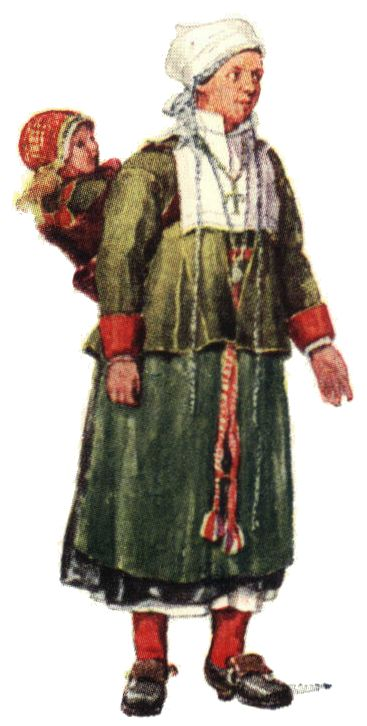 Folkdräkt, Mora socken, kvinna, Nordisk familjebok