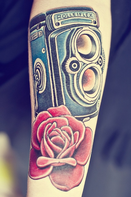 Rolleiflex Tattoo.... Part of a sleeve. by littleflowers132313, via Flickr
