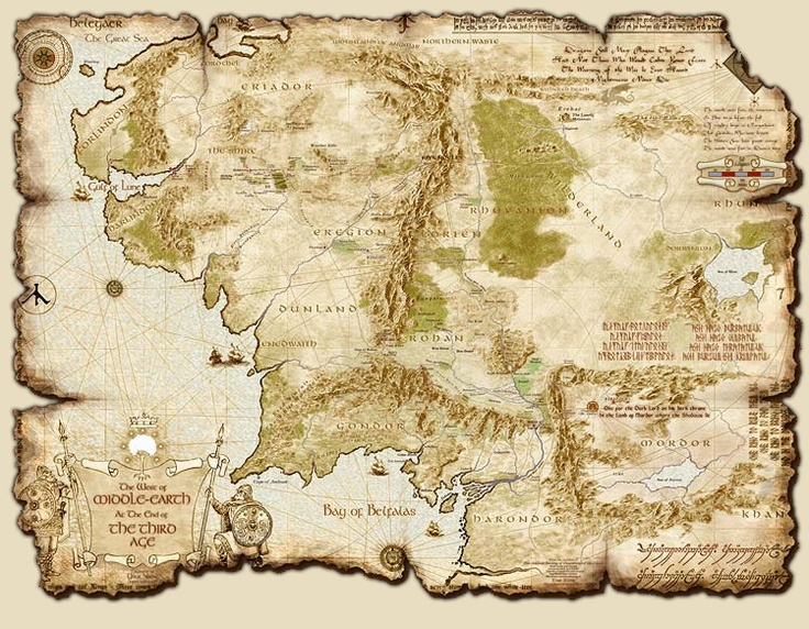Map of Middle Earth at the End of the Third Age (lord of the rings lesson pland ideas)