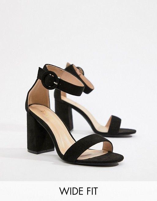 9d9ce291525 RAID Wide Fit Genna black block heeled sandals
