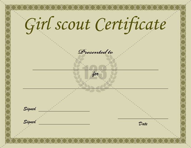 Printable girl scout certificate template for Girl scout award certificate templates