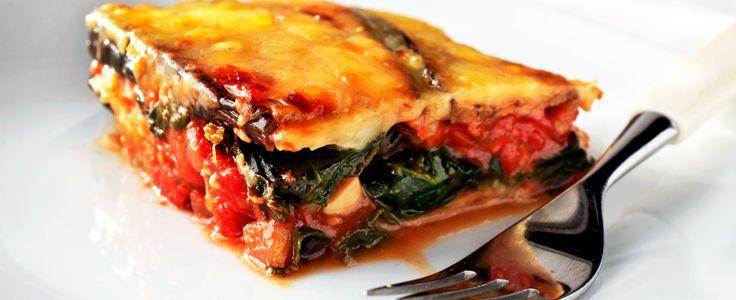 Lasagne med aubergine og spinat