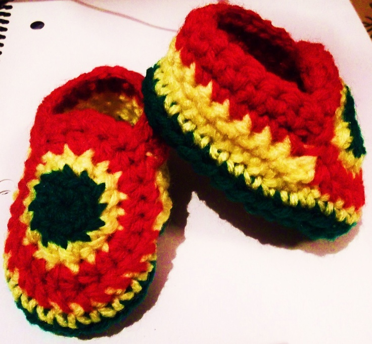 rasta baby booties :D  for hippie/bohemian parents  fitting 0-3 months  $3