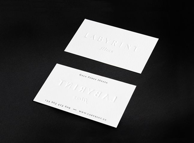 Blind embossed business card for Labyrint films by Pattern.