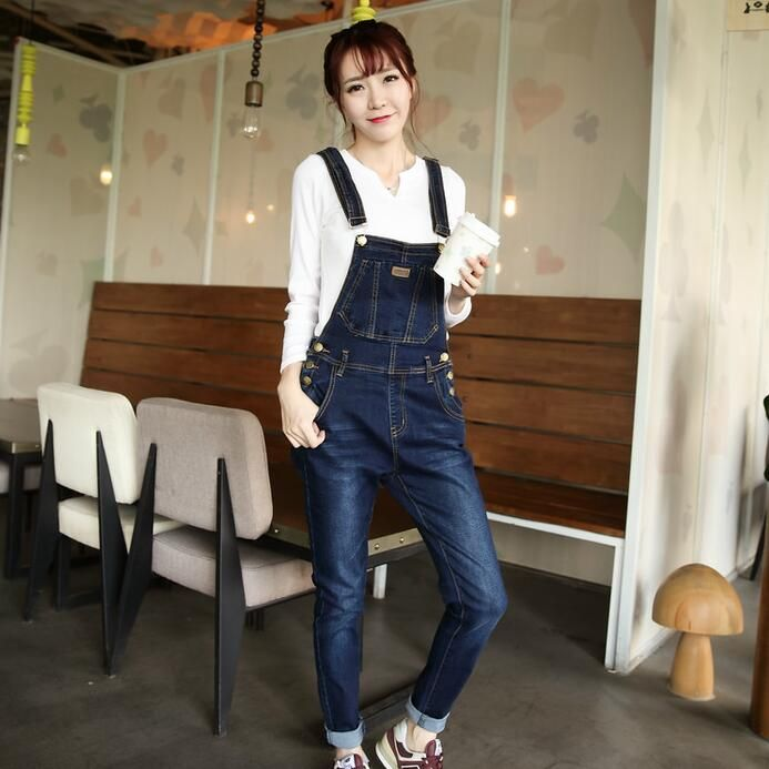 Plus Size Women Denim Overalls New 2017 Ladies Bib Jeans Korean Fashion Preppy Style Bleached Garment Washed Free Shipping