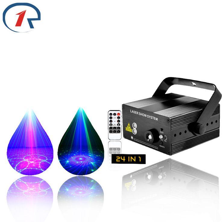 ZjRight 24 patterns IR Remote RG laser stage light Mix blue LED lights Music control gala party effect light ktv bar disco light #Affiliate