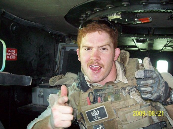 Matt Lutz during his 2009 deployment to Iraq as a Navy explosive ordnance disposal technician.