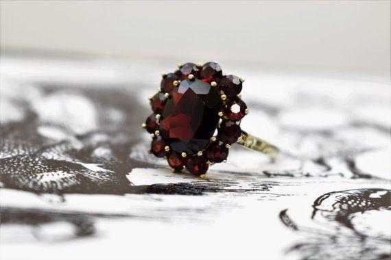 Vintage Oval Garnet Ring Bohemian Garnet by PrettyDifferentShop