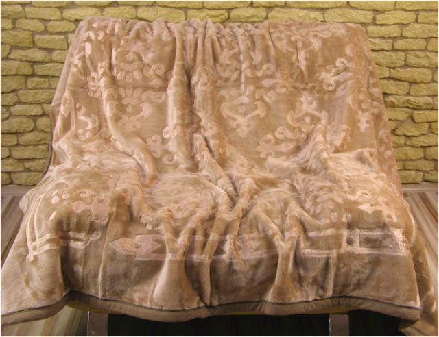 Beżowy koc akrylowy 160x210 tłoczony