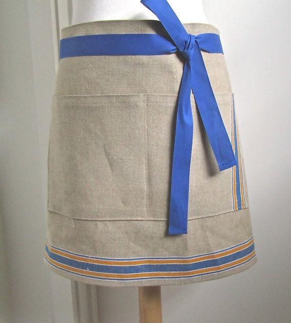 Half Linen Apron  Woman  Mangle Cloth  Vintage by attitudeandapron, $27.00