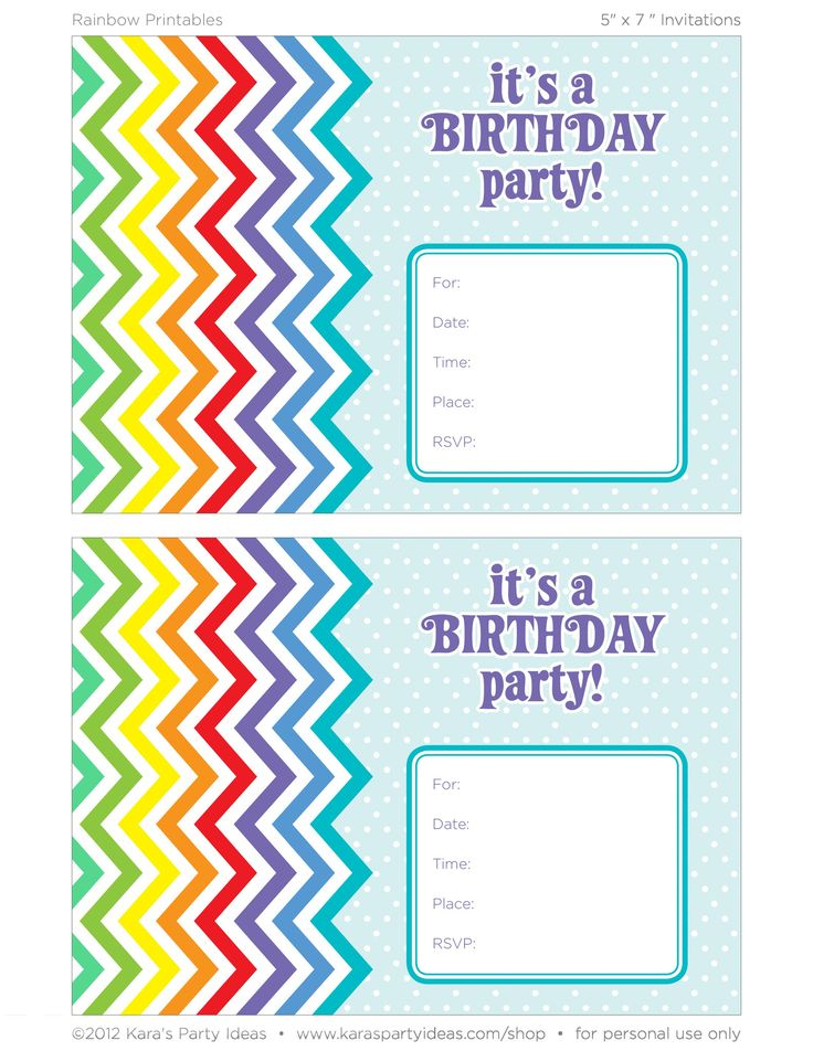 Rainbow Party Invitation Printables