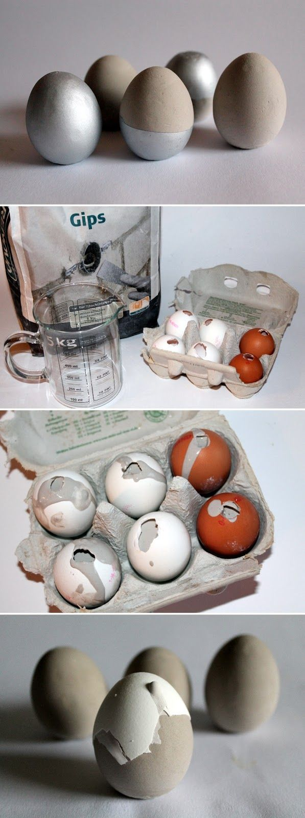 DIY Plaster / Concrete Eggs Make Easter decoration yourself