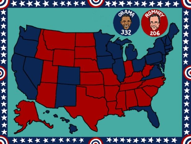 The 2012 Election Results Obama S Win In 1 Map