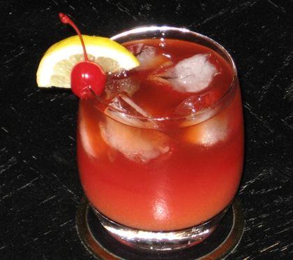 "Firecracker (2 oz. Myers's Rum 1 oz. Sloe Gin 3 oz. Orange Juice .5 oz Bacardi 151 or Captain Morgan ""Black"" Rum Cherry and/or Citrus wedge to garnish)"