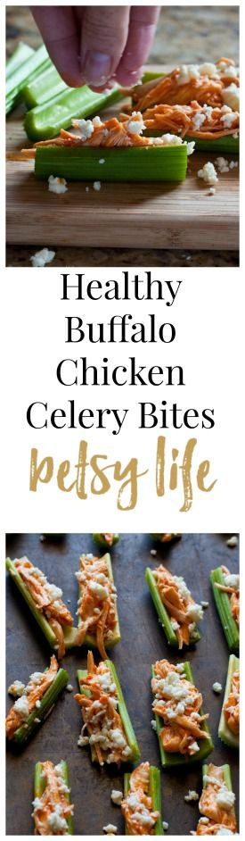 Buffalo Chicken & Celery Appetizers. This healthy game day recipe is the most fun way to enjoy buffalo chicken.