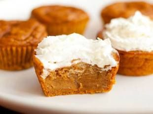 Impossible Pumpkin Pie Cupcakes  15 oz can pumpkin puree 1/2 c sugar 1/4 c brown sugar 2 large eggs 1 tsp vanilla extract 3/4 c evaporated milk 2/3 c all purpose flour 2 tsp pumpkin pie spice 1/4 tsp salt 1/4 tsp baking powder 1/4 tsp baking soda
