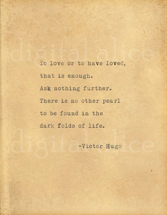 Vintage Typewriter Print Victor Hugo Love Quote Wall Art Instant