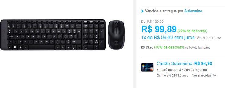 Combo Mouse e Teclado Wireless Logitech MK220 << R$ 8990 >>