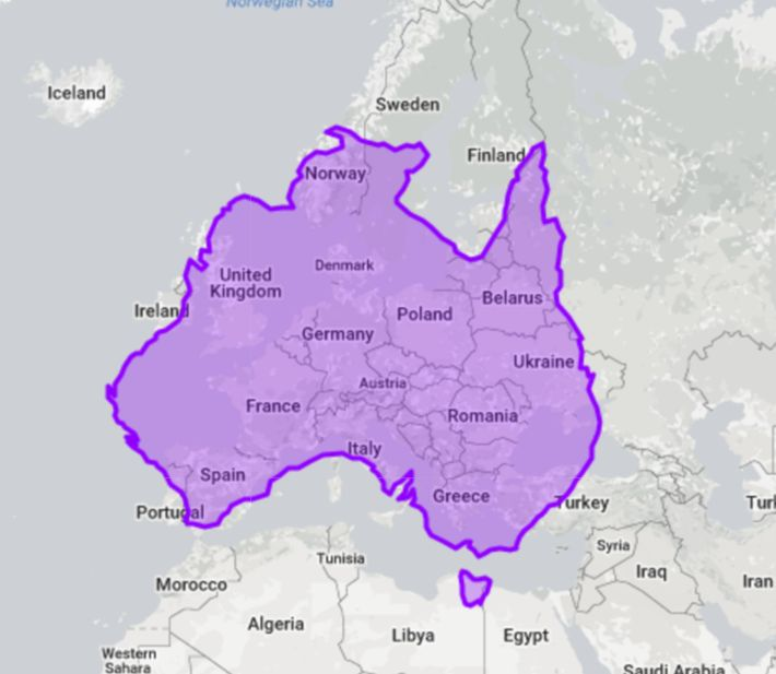 717 best australian maps images on pinterest map of australia you probably know australia is huge but look at how much of europe it covers gumiabroncs Images