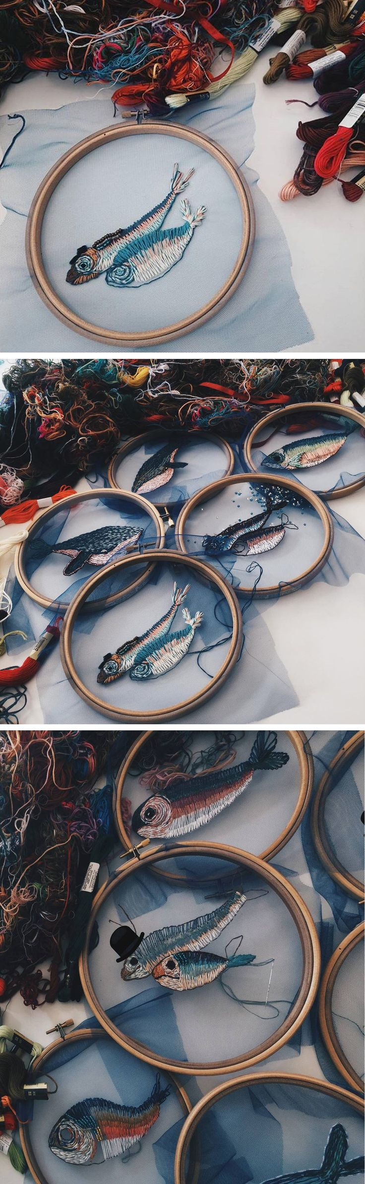 Fish embroidery on tulle // modern embroidery // hoop art