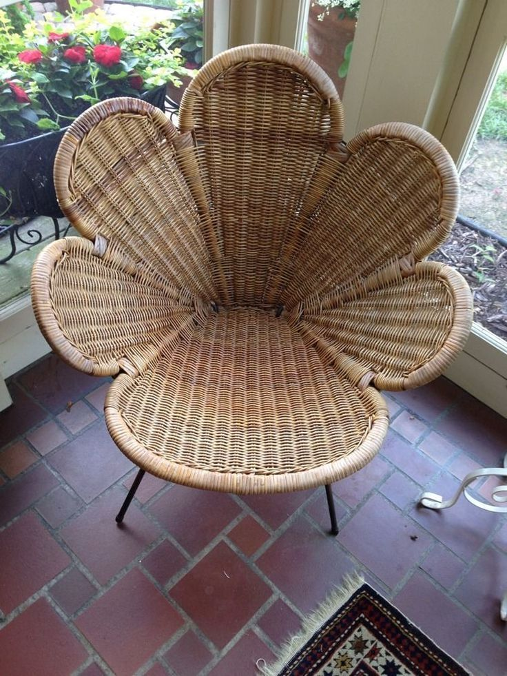 Mid Century Modern Eames Era Rattan Wicker Tony Paul Flower Power Chair Original