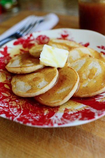 Eggnog Silver Dollar Pancakes with Nutmeg Syrup. A Christmas breakfast treat!