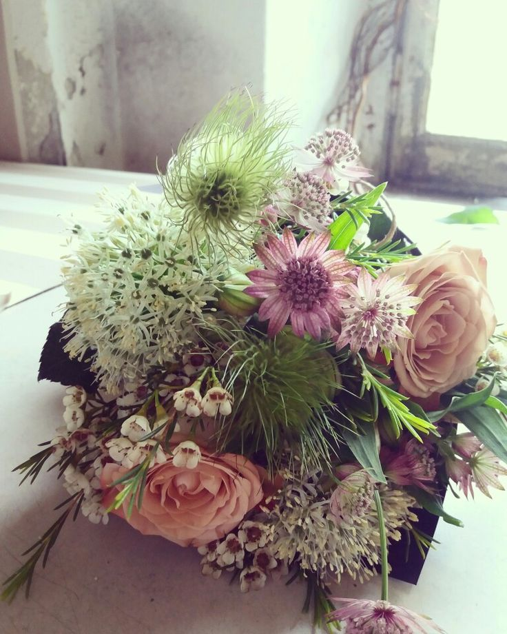 Allium, rose, astrantia, pulsatilla bunch