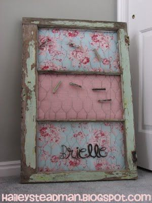 I have two old windows in the basement, just waiting to have something done to them.....this is an idea for my pink craft room (the only pink room in the house)  :)