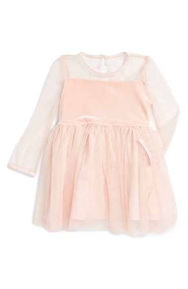 Free shipping and returns on Bardot Junior Illusion Neckline Fit & Flare Dress (Baby Girls) at Nordstrom.com. A sheer mesh neckline and long sleeves add to the allure of a mixed-media dress that pairs a lush velvet bodice with a flared tulle skirt sparkling in metallic glitter.
