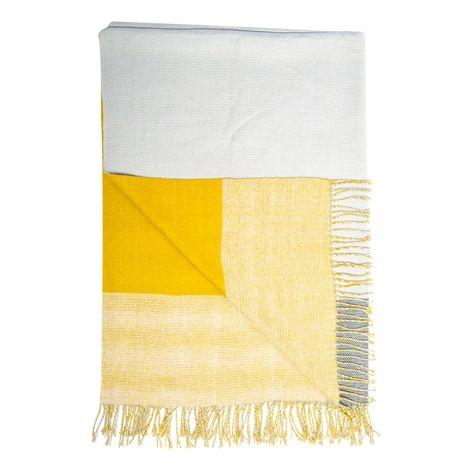 Pläd TWIN gul/grå