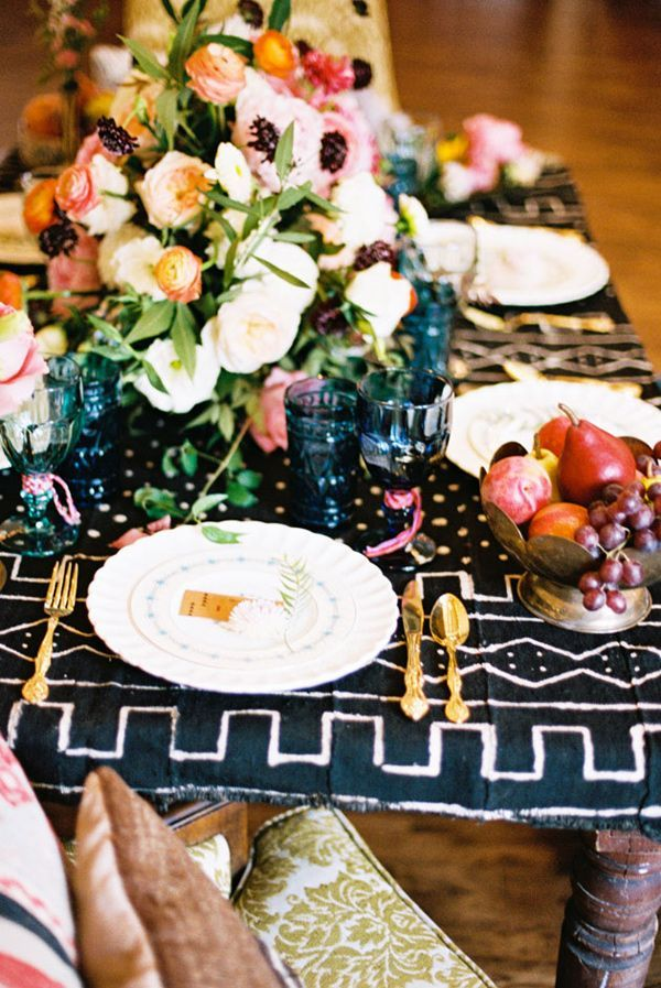 African mudcloth textile used as tablecloth.