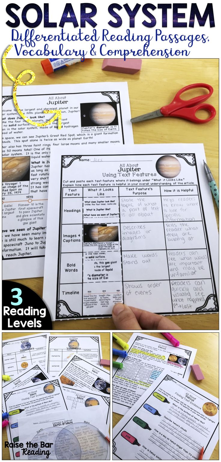 Soaring through the Solar System: Differentiated Informational Planets Reading Passages (3 levels per planet) perfect for Grades 3-6. Common-Core aligned Vocabulary & Comprehension activities! A must have for your solar system unit!
