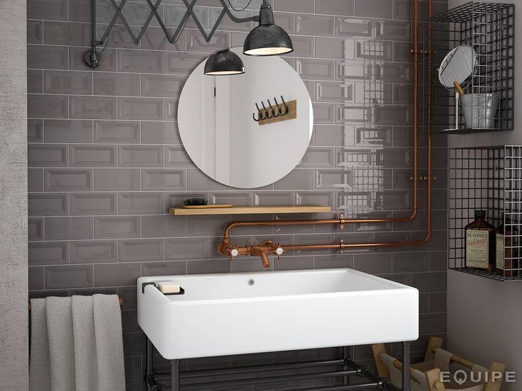 Evolution InMetro Dark Grey 7,5x15 : Baños industriales de Equipe Ceramicas