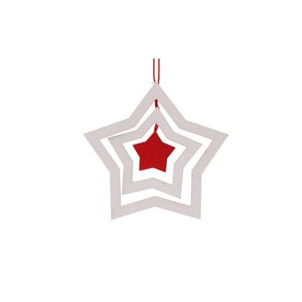 Nice wooden Christmas ornament, in the shape of a 3D star. This ornament is white and 10 cm