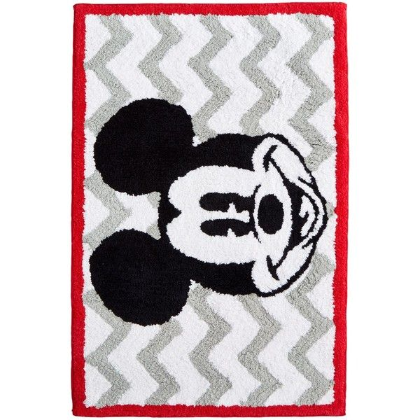 Jay Franco Mickey Chevron Rug ($40) ❤ liked on Polyvore featuring home, rugs, multi, cotton rugs, zig zag rugs, rectangle rugs, chevron rugs and rectangular rugs
