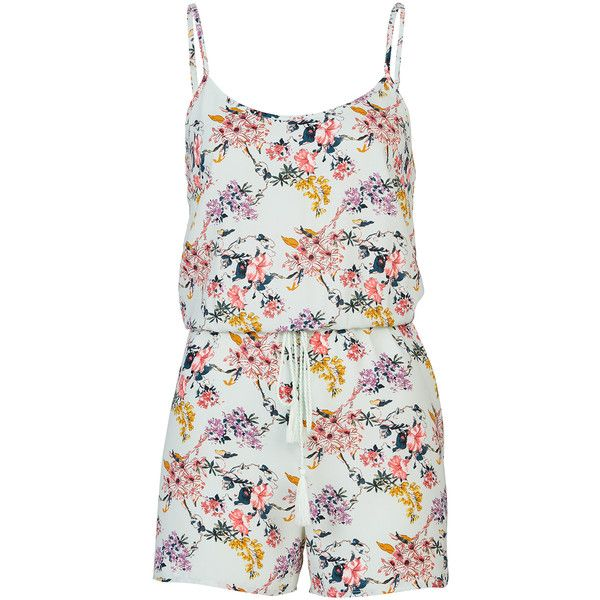 Beach Playsuit ($39) ❤ liked on Polyvore featuring jumpsuits, rompers, beach romper, beach rompers, playsuit romper, white romper and white rompers