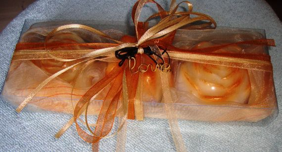 This is the best Valentine's Day gift idea for Her : Handmade Valentine Gift Set for women in Golden Orange Peach Colour containing a trio of exquisitely & individually wrapped Fragranced Luxury Soaps in Golden-Cream Color and a lovely golden-bronze Handmade Love Jewelry Necklace in the packaging.