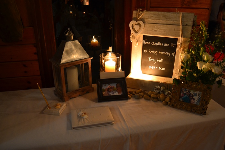 In loving memory of Titch, a place we dedicated to him at our wedding.