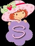 Alfabeto de Strawberry Shortcake con flor morada. | Oh my Alfabetos!