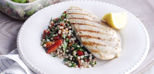 This lemon chicken and cous cous is ready in no time - it's our kind of fast food! Quick, easy, healthy and delicious!