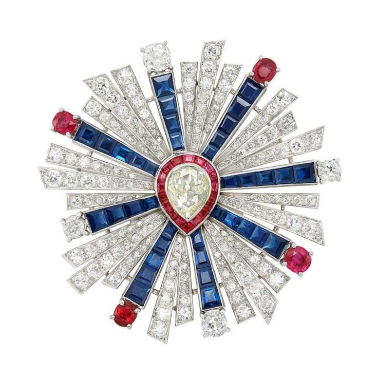 Buy online, view images and see past prices for Platinum, Light Yellow Diamond, Diamond, Ruby and Sapphire Double Clip-Brooch. Invaluable is the world's largest marketplace for art, antiques, and collectibles.