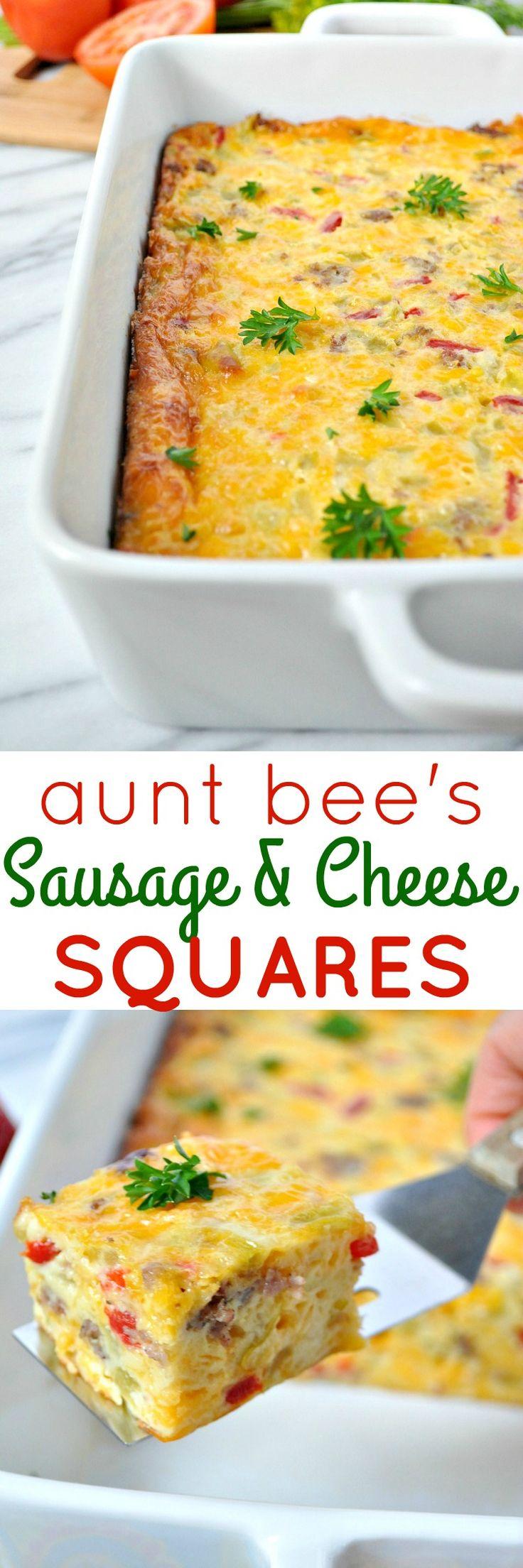 My great Aunt Bee has been hosting southern cocktail parties for years, and this is one of her all-time favorite appetizer recipes! Sausage and Cheese Squares are an easy, make-ahead finger food that's perfect for any occasion!