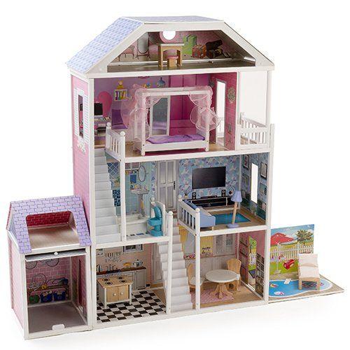 Mamakiddies - Casa delle bambole, a 4 piani, in legno, incl. mobili, altezza 1,3 m (adatta per Barbie di grandezza standard)