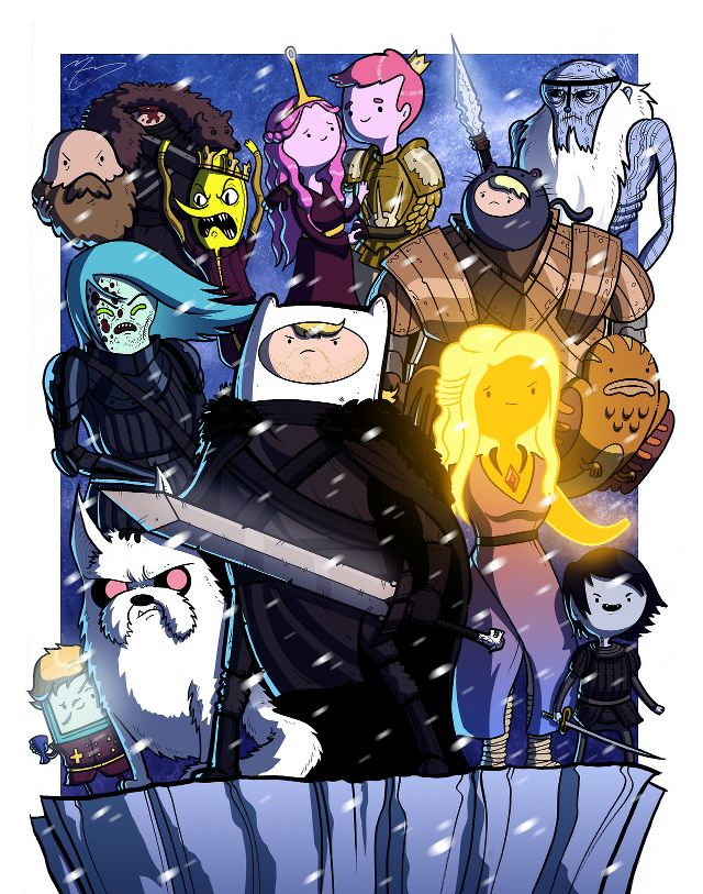 The Animated Cast of 'Adventure Time' Illustrated as Popular Movie, Television Show, and Video Game Characters